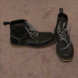 Crevo Buck Moc Toe Leather Boots - Black